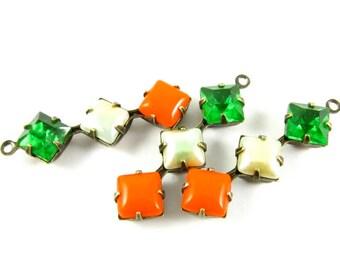 2 - Vintage Glass Square Stone in 1 Ring 3 Stones Antique Brass Prong Settings - Peridot, Iridescent Light Green & Tangerine Orange - 30x8mm