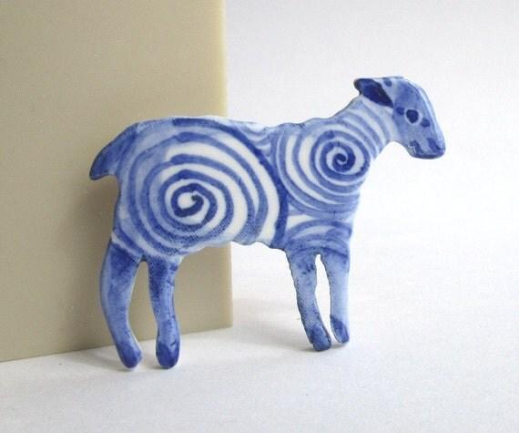 Lamb - Handpainted Blue Delft porcelain Brooch