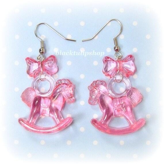 Kawaii Pink Bow Earrings Toy Rocking Horse OTT Sweet Lolita Fairy Kei