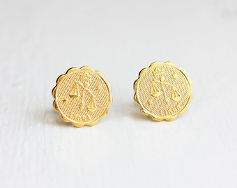 Gold Astrology Studs - Libra