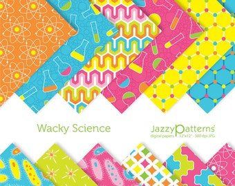 Kids Science digital papers pack Wacky Science DP041 instant download