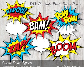 DIY Comic Book Sound Effects printable photo booth props, comic book style speech bubbles PP003 instant download