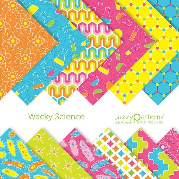 Kids Science digital papers pack Wacky Science DP041 instant download
