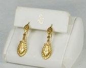 Vintage Gold Tone Metal Dangle Hook Earrings