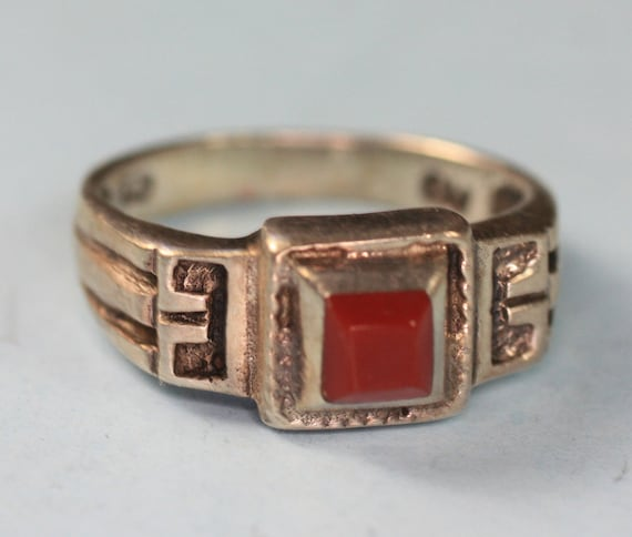 RESERVED Vintage Carnelian Ring Sterling Geometric Greek Key Design
