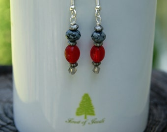 Black Lace Agate and Red Glass Earrings