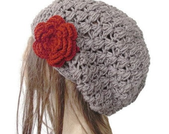 Slouchy Beanie   Hat  Crochet Hat  Boho  Hat    Womens hat   chunky knit  taupe  Beanie  Fall Winter  Accessories Fashion