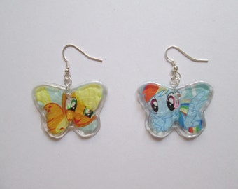 Apple Jack and Rainbow Dash Butterfly Earrings