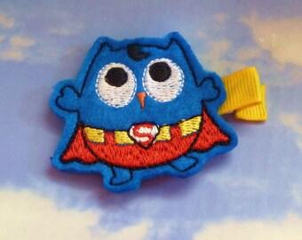 Super Owl - Superhero/Comic Felt Embellishment Owl Hair Clip - Fighting Bad Hair Days One Hairdo at a Time