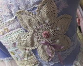 Vintage Kitty .. periwinkle blue cropped sweater... crochet, pearls, roses, lace, doilies, ribbon, pretty shabby chic.. Large