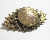Vintage 1930s Brooch - Pin - Victorian Revival - Flowers - Brass
