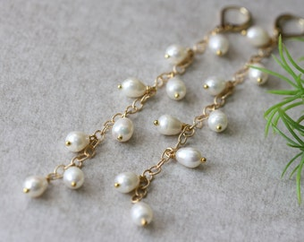 White Pearls Gold Chain Long Earrings, Wedding Earrings, Bridal Jewelry, Spring Weddings, White Pearls Jewelry
