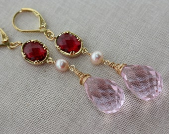 Pink Flamingo Briolette, Tudor Style, Victorian, Bridal Shop, Easter Spring Trend, Weddings, Birthday Gift for Wife, for Sister, Feminine