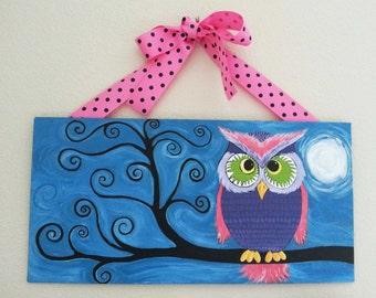 Whimsical Owl Painting   Original Painting   Acrylic Painting   Woodland Owl   Acrylic on Canvas Board   Woodland Art