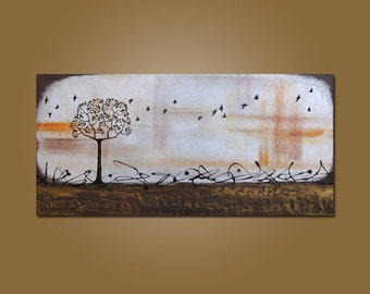 Tall - 36 x 18, Heavy Textured Acrylic Art PAINTING, ORIGINAL, Contemporary Earthy Tree Bird Art