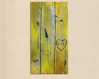 customized heart -- rustic contemporary faux wood fence original PAINTING art-- personalized with your names or initials - valentines day