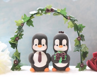 Unique Wedding cake topper Penguins with floral arch - personalized elegant bride groom figurines wedding gift anniversary names monogram