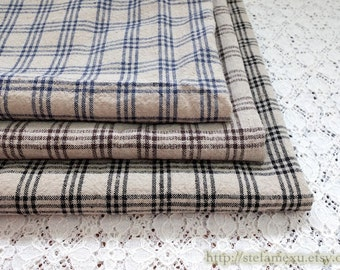 SALE Clearance 1 Yard Home Decor Kitchen Tea Towels Table Plates Fabric, Retro Zakka Gingham Checks-Water Washed Linen Cotton Blended Fabric