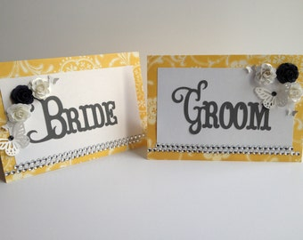 Bride and Groom Table Signs Sweetheart Table - Yellow and Silver/Grey