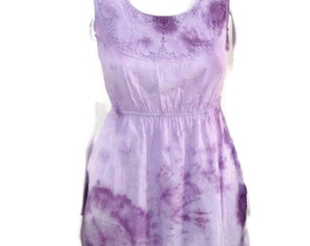 Tie Dyed Babydoll Rosette bodice dress in Lavender X-small