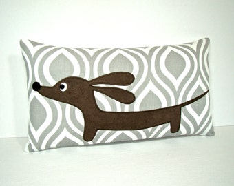 Dachshund Dog Pillow - Doxie in the Gray Moroccan Garden - Geometric Modern Home Decor Gray White