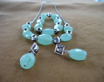 Light Aqua Blue Green Chalcedony and Silver Necklace Set