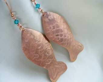 Hammered Copper Fish Earrings