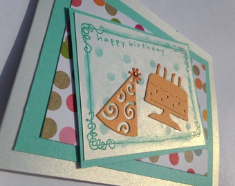 Handmade Stampin Up Happy Birthday Blank Card: Teal, Mustard and Colors