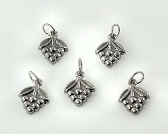 Grape Cluster Charms - Sterling Silver Set of 5 Wine Charms