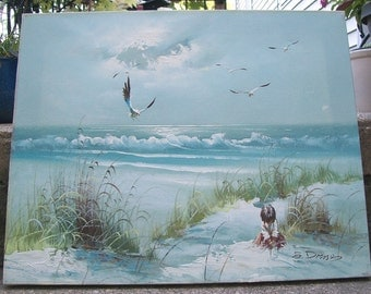 Seascape Painting Beach Seashore Painting Signed