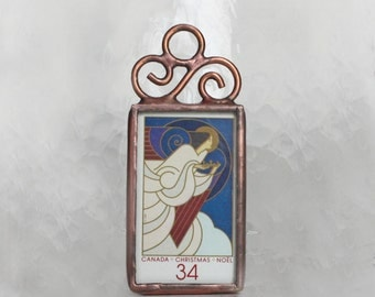 Canadian Postage Stamp Christmas Ornament Stained Glass Decoration Angel Ornament