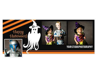 Halloween Ghost Facebook Timeline - Photoshop Template for Photographers - INSTANT DOWNLOAD