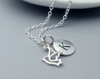 Teeny Silver Dove Initial Necklace, Personalized, Letter Necklace, Peace Dove Necklace, Sterling Silver, Dainty, Bridal, Bridesmaid Gift