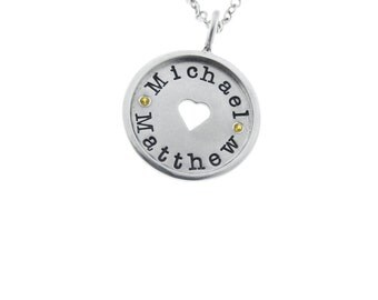 Custom Cutout Silver Name Charm Solid Sterling Family Twins Birthstone Necklace Engraved Artisan Handmade Fine Designer Fashion Mom Jewelry