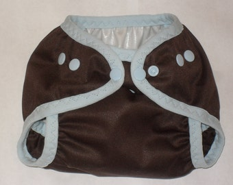 Brown diaper cover  with light blue snaps