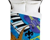 Jazz Music Duvet Cover from my art. Available in twin,queen and king sizes