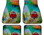 Red VW Bug Beach Art Car Mats front and rear from my original design