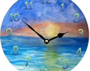 Ocean Beach Sunset large Wall Clock  from my art