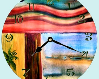 Retro tropical wall clock from my art