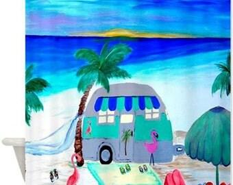 Air Stream Camper on the beach Art Shower Curtain