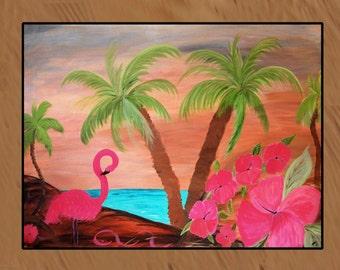 Flamingo in Paradise indoor-outdoor flamingo art Floor Mat.Available in 3 sizes