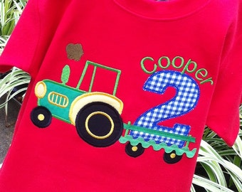 Boys Personalized Appliqued Birthday Tractor Tee
