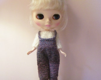 White Mohair Sweater and Matching Tweed Look Romper for Blythe doll....Darling!!