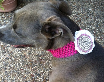 Stretch Hot Pink Collar with Mega Rhinestone Medallion Shabby Chic Flower