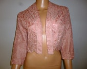 "Vintage 1950's - Rose - Floral Lace  - Bolero - Crop -  Jacket - Coat - bust size 38"""