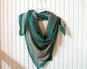 Green, Beige Dots, Silk Cotton Soft  Women Scarf