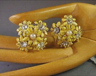 Springtime Yellow Enameled Flower Earrings