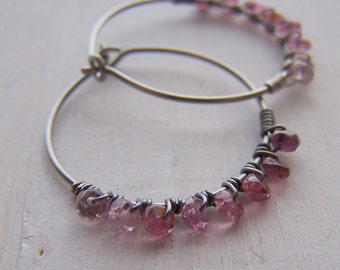 Pure Titanium Hoop Earrings with Ombré Genuine Pink Tourmaline Gemstone Sterling Silver wire wrap - hand made by Variya
