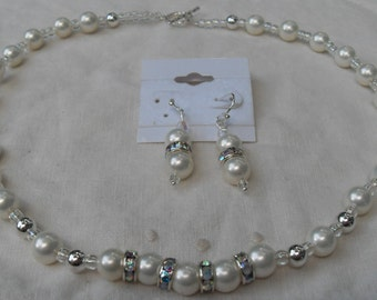 Bride Necklace Earring Set Sterling and Crushed Shell Pearls Beads Matching Dangle Earrings Pretty