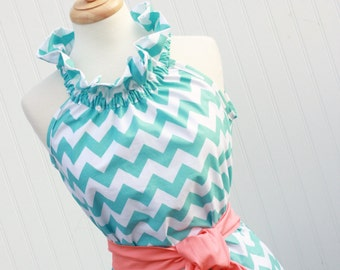 Sail Away...Women's Dress, Chevron Dress with Removable Sash